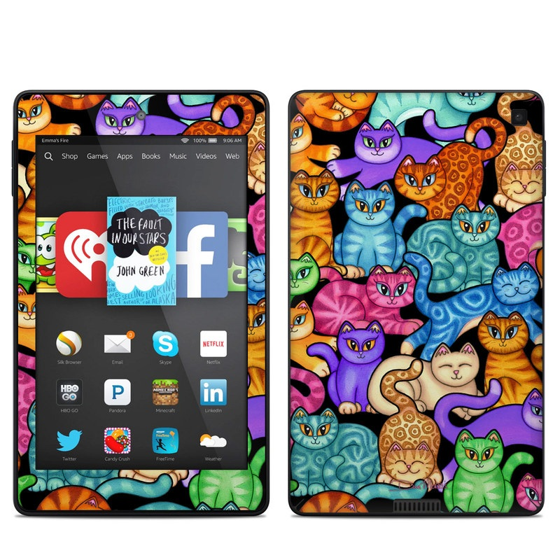 Amazon Kindle Fire HD 6 2014 Skin design of Cat, Cartoon, Felidae, Organism, Small to medium-sized cats, Illustration, Animated cartoon, Wildlife, Kitten, Art with black, blue, red, purple, green, brown colors
