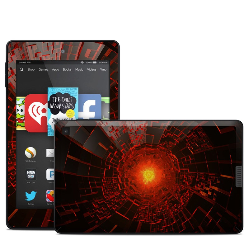 Amazon Kindle Fire HD 6 2014 Skin design of Red, Fractal art, Light, Circle, Design, Art, Graphics, Symmetry, Pattern, Space with black, red colors