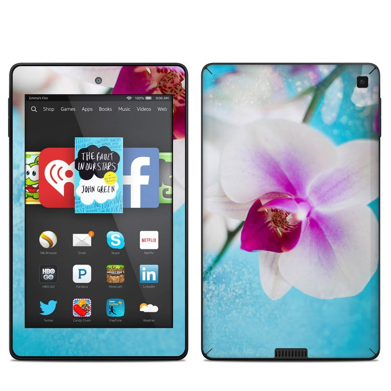Amazon Kindle Fire HD 6 2014 Skin design of Flowering plant, Petal, Flower, Pink, moth orchid, Plant, Purple, Violet, Orchid, Moth Orchid with gray, blue, purple, red colors
