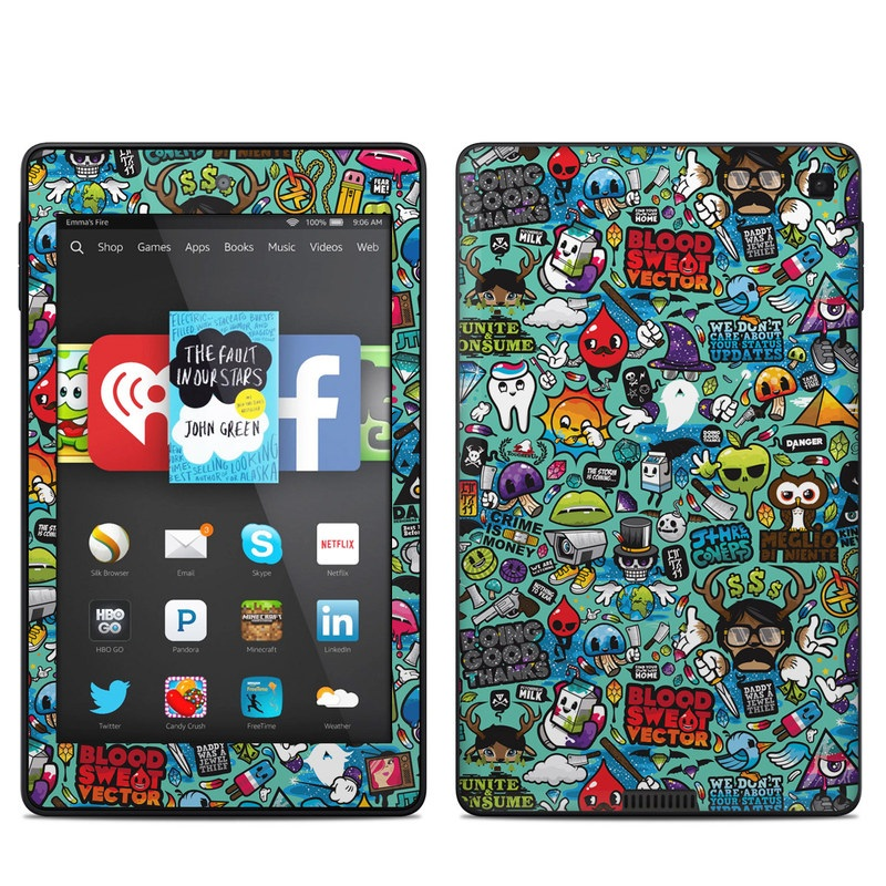 Amazon Kindle Fire HD 6 2014 Skin design of Cartoon, Art, Pattern, Design, Illustration, Visual arts, Doodle, Psychedelic art with black, blue, gray, red, green colors