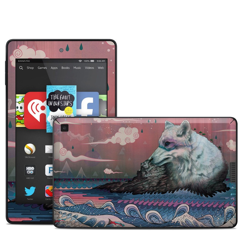 Amazon Kindle Fire HD 6 2014 Skin design of Illustration, Art with gray, black, blue, red, purple colors