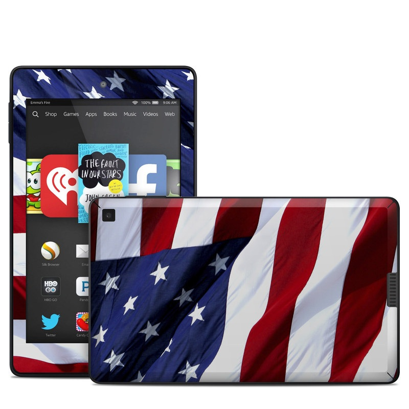 Amazon Kindle Fire HD 6 2014 Skin design of Flag, Flag of the united states, Flag Day (USA), Veterans day, Memorial day, Holiday, Independence day, Event with red, blue, white colors