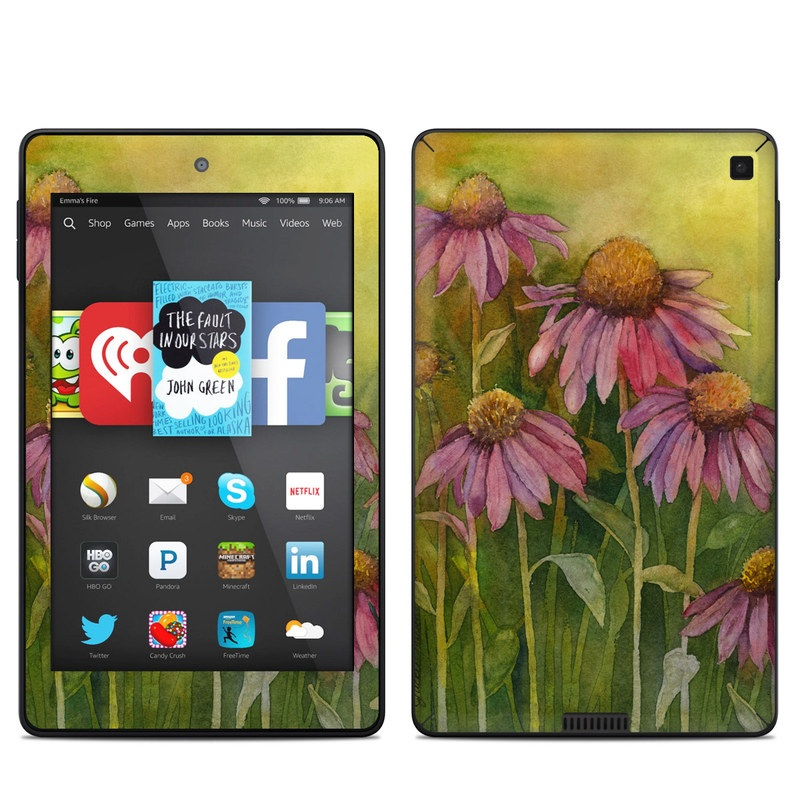Amazon Kindle Fire HD 6 2014 Skin design of Flowering plant, Purple coneflower, Coneflower, Flower, Plant, Watercolor paint, Wildflower, black-eyed susan, Petal, Daisy family with black, green, red, gray, purple colors