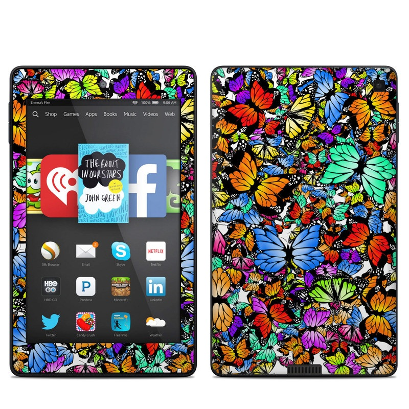 Amazon Kindle Fire HD 6 2014 Skin design of Butterfly, Monarch butterfly, Moths and butterflies, Psychedelic art, Insect, Cynthia (subgenus), Pattern, Stained glass, Design, Pollinator with black, red, gray, green, blue colors