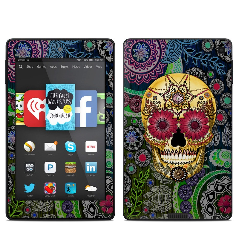 Sugar Skull Paisley Amazon Kindle Fire HD 6 Skin