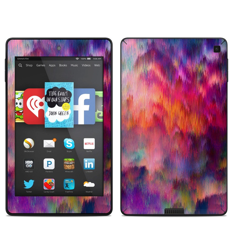 Amazon Kindle Fire HD 6 2014 Skin design of Sky, Purple, Pink, Blue, Violet, Painting, Watercolor paint, Lavender, Cloud, Art with red, blue, purple, orange, green colors