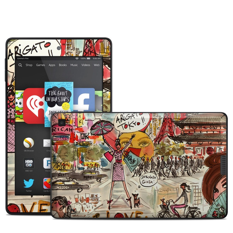 Amazon Kindle Fire HD 6 2014 Skin design of Cartoon, Art, Illustration, Graphic design, Collage, Fiction, Fictional character, Comics, Visual arts, Photomontage with gray, black, red, green, pink, yellow colors