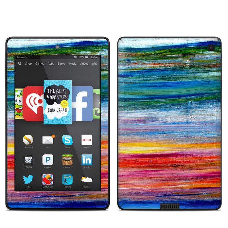 Amazon Kindle Fire HD 6 2014 Skin design of Sky, Painting, Acrylic paint, Modern art, Watercolor paint, Art, Horizon, Paint, Visual arts, Wave with gray, blue, red, black, pink colors