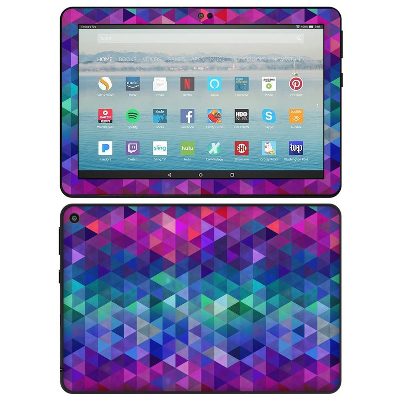 Amazon Fire HD 8 2020 Skin design of Purple, Violet, Pattern, Blue, Magenta, Triangle, Line, Design, Graphic design, Symmetry with blue, purple, green, red, pink colors