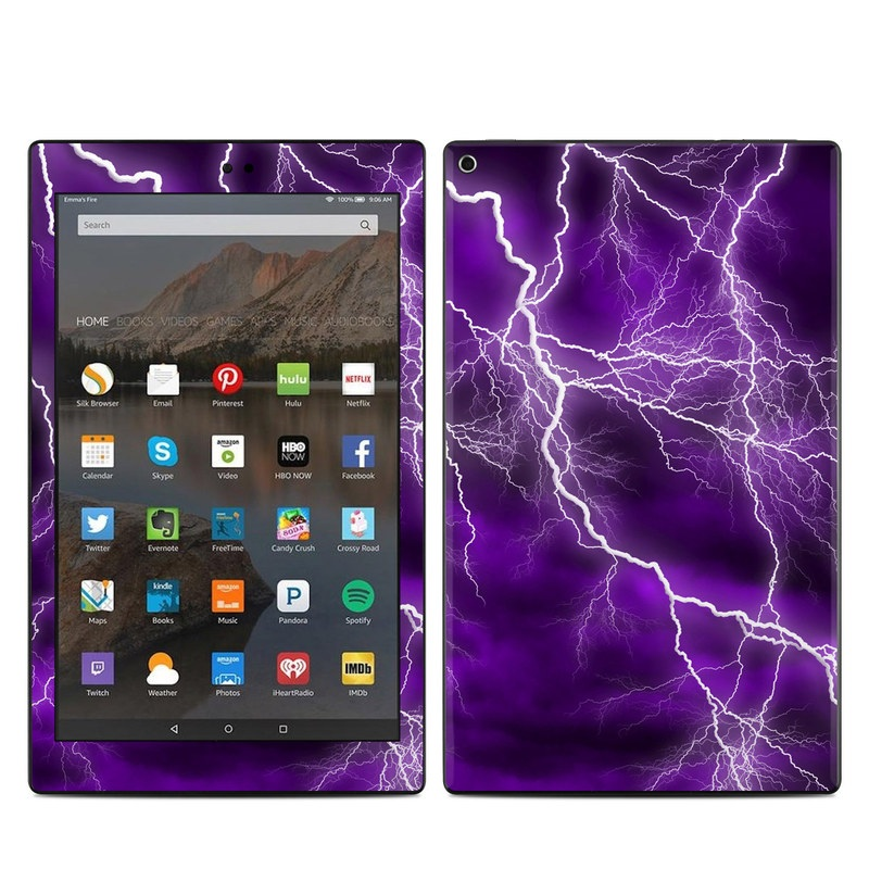 Amazon Fire HD 10 2017 Skin design of Thunder, Lightning, Thunderstorm, Sky, Nature, Purple, Violet, Atmosphere, Storm, Electric blue with purple, black, white colors