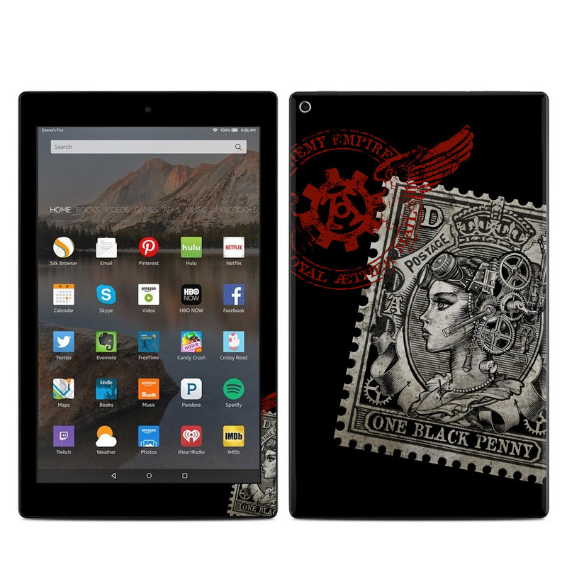 Amazon Fire HD 10 2017 Skin design of Font, Postage stamp, Illustration, Drawing, Art with black, gray, red colors