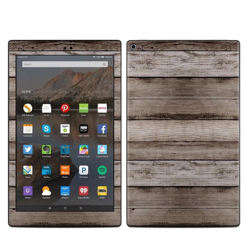Amazon Fire HD 10 2017 Skin design of Wood, Plank, Wood stain, Hardwood, Line, Pattern, Floor, Lumber, Wood flooring, Plywood with brown, black colors