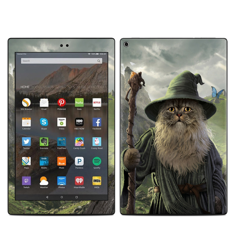 Amazon Fire HD 10 2017 Skin design of Beard, Facial hair, Illustration, Mythology, Magician, Fictional character, Cg artwork, Games, Art with green, gray, brown, blue, green, white, yellow, black colors