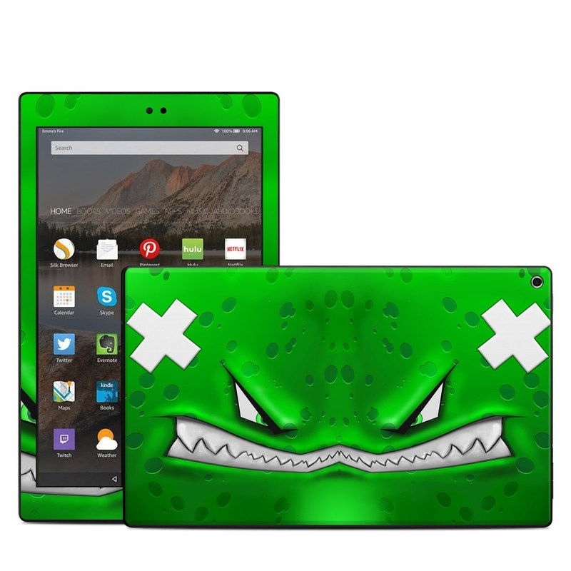 Amazon Fire HD 10 2017 Skin design of Green, Font, Animation, Logo, Graphics, Games with green, white colors