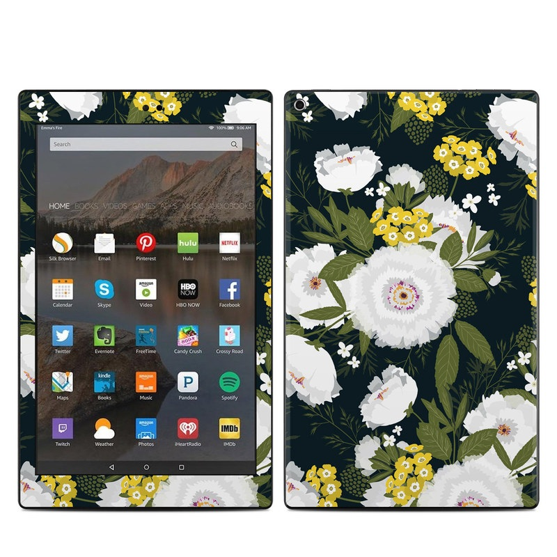 Amazon Fire HD 10 2017 Skin design of Flower, Flowering plant, Plant, Petal, Daisy, mayweed, Wildflower, Floral design, Annual plant with green, yellow, white, orange colors