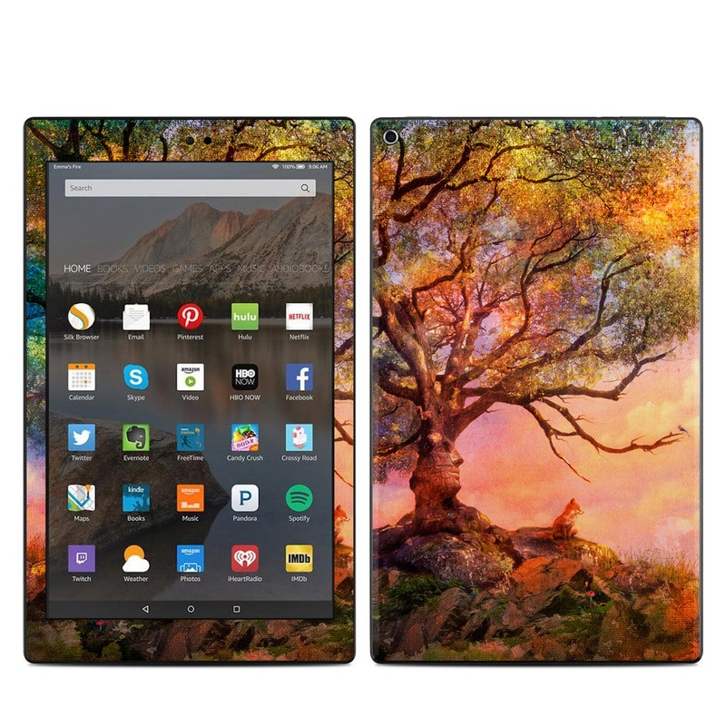 Amazon Fire HD 10 2017 Skin design of Nature, Tree, Sky, Natural landscape, Branch, Leaf, Woody plant, Trunk, Landscape, Plant with pink, red, black, green, gray, orange colors