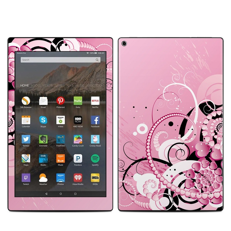 Amazon Fire HD 10 2017 Skin design of Pink, Floral design, Graphic design, Text, Design, Flower Arranging, Pattern, Illustration, Flower, Floristry with pink, gray, black, white, purple, red colors