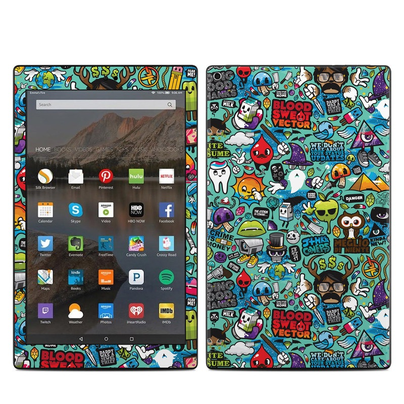 Amazon Fire HD 10 2017 Skin design of Cartoon, Art, Pattern, Design, Illustration, Visual arts, Doodle, Psychedelic art with black, blue, gray, red, green colors