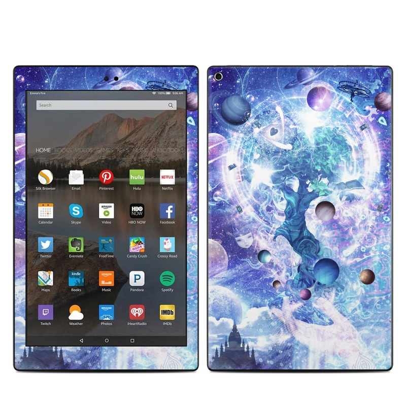 Amazon Fire HD 10 2017 Skin design of Bird, Butterfly, Planets, Deer, Space, Purple, World, Astronomical Object, Cg Artwork, Illustration, Universe, Painting, Fictional Character, Outer Space, Astronomy, Science, Water Feature, Graphic Design, Graphics, Star, Mythology with blue, purple, white, black, gray, green colors