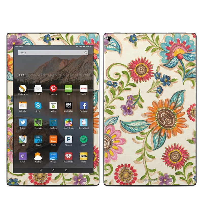 Amazon Fire HD 10 2017 Skin design of Pattern, Floral design, Flower, Botany, Design, Visual arts, Textile, Plant, Wildflower, Pedicel with gray, green, pink, yellow, red, blue colors