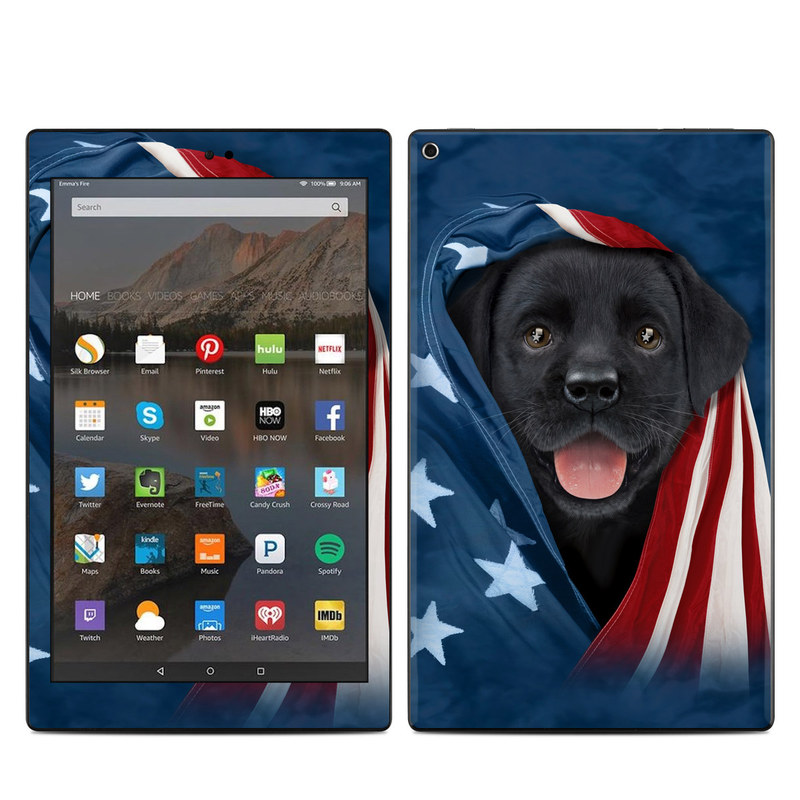 Amazon Fire HD 10 2017 Skin design of Canidae, Dog, Dog breed, Flag, Snout, Carnivore, Sporting Group, Labrador retriever, Flag of the united states, Puppy with black, gray, white, blue, red colors