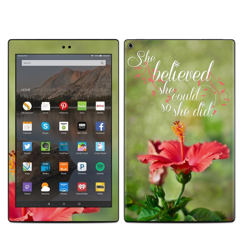 Amazon Fire HD 10 2017 Skin design of Flower, Plant, Morning, Hibiscus, Flowering plant, Petal, Font, Adaptation, Wildflower, Malvales with green, gray, black, red colors