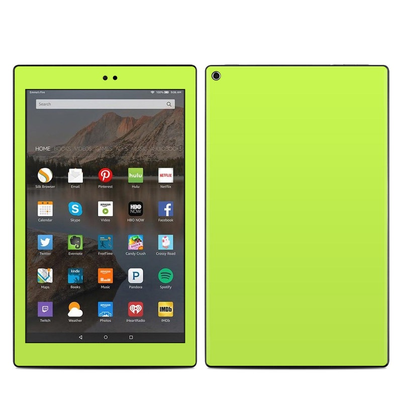 Amazon Fire HD 10 2017 Skin design of Green, Yellow, Text, Leaf, Font, Grass with green colors
