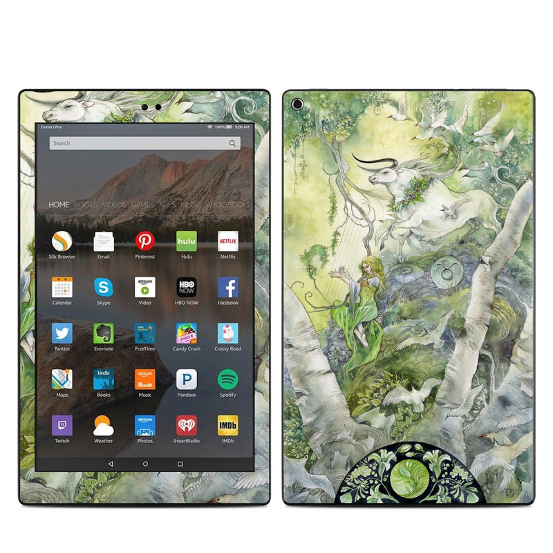 Amazon Fire HD 10 2017 Skin design of Watercolor paint, Tree, Illustration, Plant, Art, Painting, Paint with gray, green, black, yellow colors