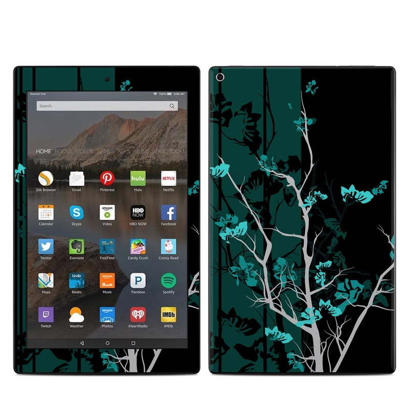 Amazon Fire HD 10 2017 Skin design of Branch, Black, Blue, Green, Turquoise, Teal, Tree, Plant, Graphic design, Twig with black, blue, gray colors
