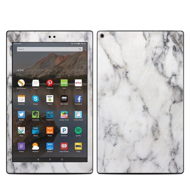 Amazon Fire HD 10 2017 Skin design of White, Geological phenomenon, Marble, Black-and-white, Freezing with white, black, gray colors
