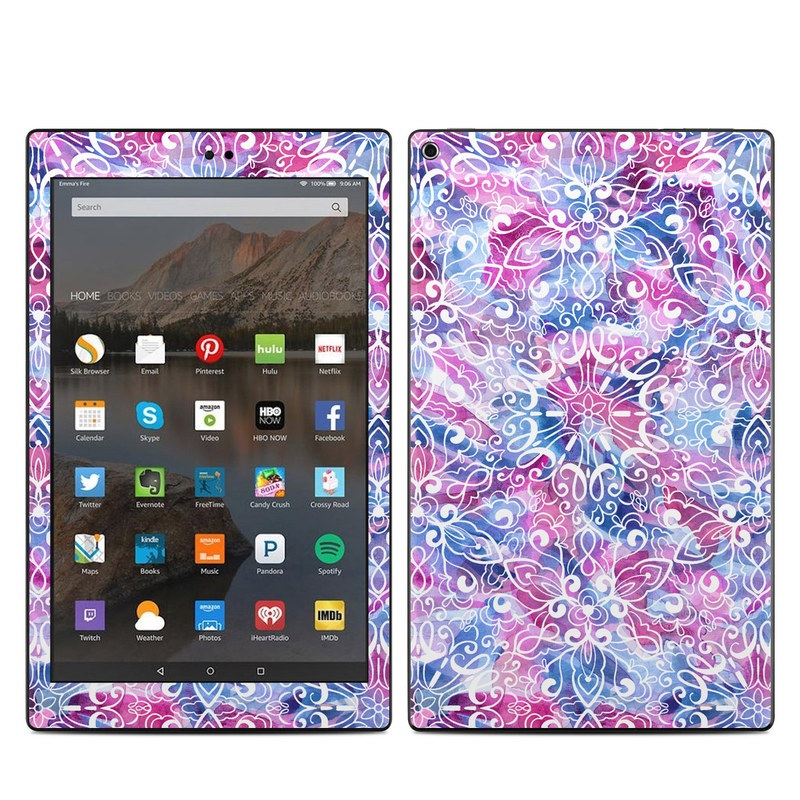 Amazon Fire HD 10 2019 Skin design of Pattern, Pink, Lilac, Design, Textile, Visual arts, Motif, Floral design, Plant with blue, pink, purple, white colors