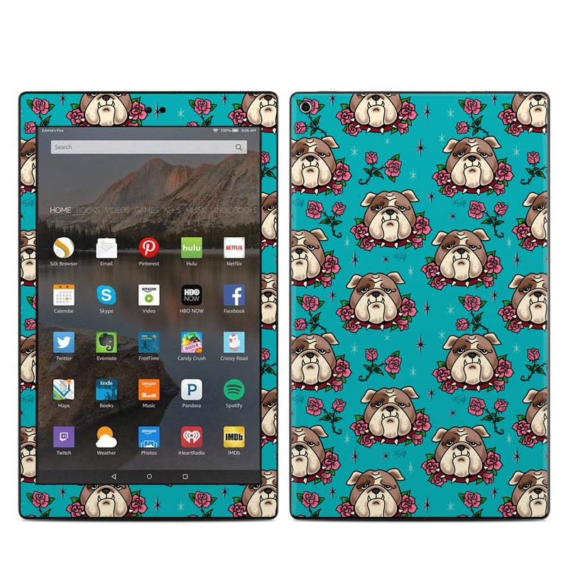 Amazon Fire HD 10 2019 Skin design of Turquoise, Pattern, Design, Textile, Wrapping paper, Fawn, Gift wrapping, Illustration, Art with blue, red, pink, white, brown colors
