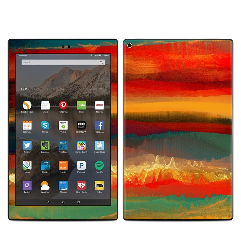 Amazon Fire HD 10 2019 Skin design of Sky, Red, Horizon, Afterglow, Orange, Painting, Acrylic paint, Watercolor paint, Sunset, Geological phenomenon with red, blue, green, yellow, orange, white colors