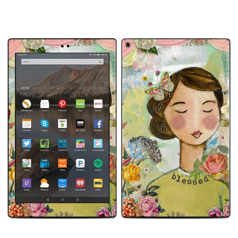 Amazon Fire HD 10 2019 Skin design of Illustration, Cheek, Art, Watercolor paint, Retro style, Painting, Plant, Flower, Fashion illustration, Fictional character with pink, green, yellow, white, red, blue colors