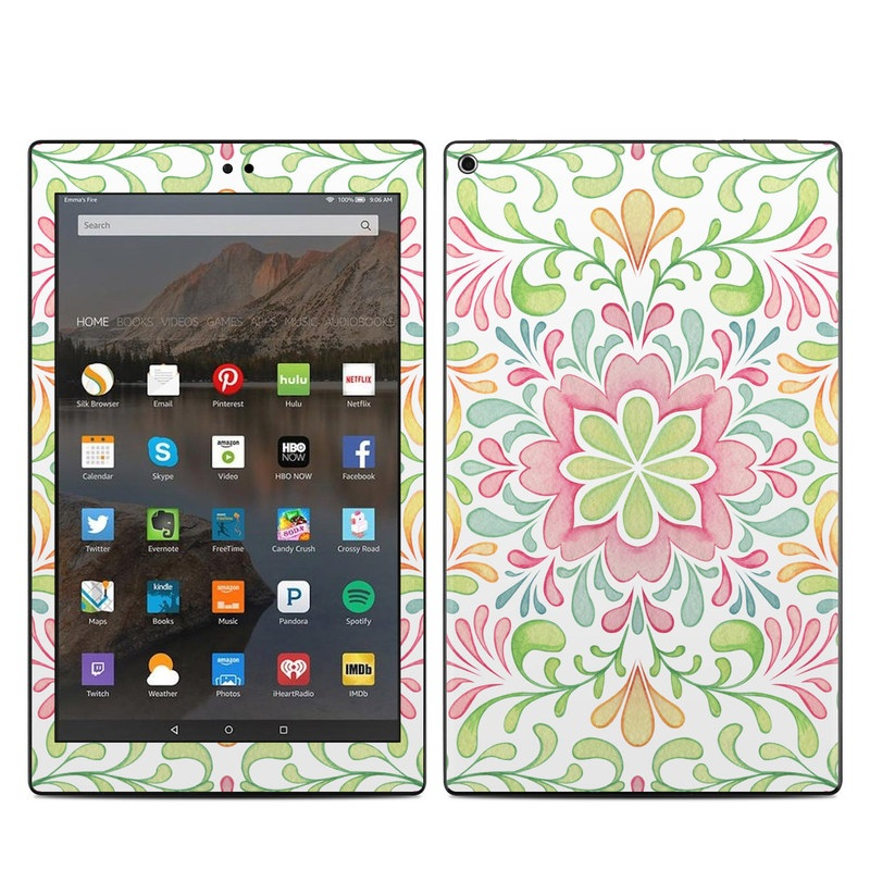 Amazon Fire HD 10 2019 Skin design of Pattern, Pink, Visual arts, Design, Textile, Wrapping paper, Symmetry, Floral design, Motif with gray, white, pink, green colors
