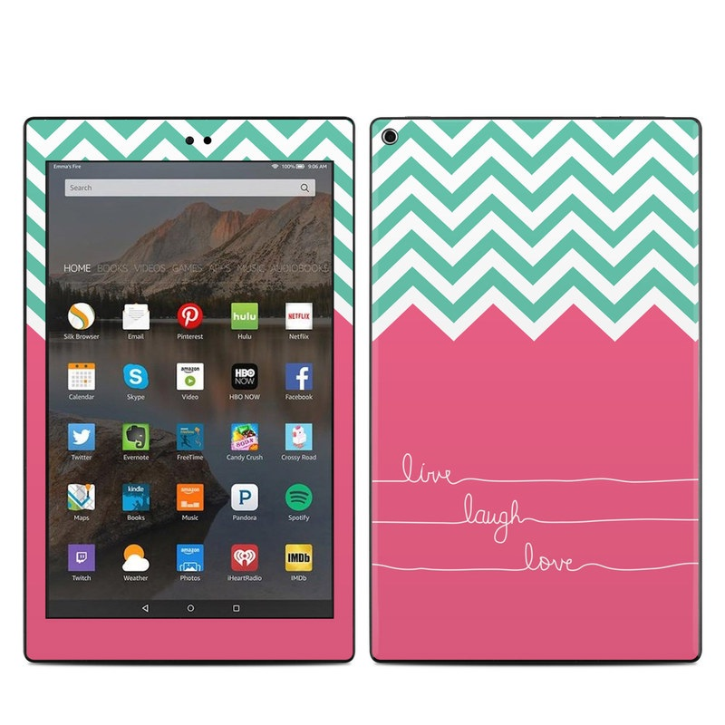 Amazon Fire HD 10 2019 Skin design of Pink, Aqua, Line, Text, Turquoise, Pattern, Font, Magenta, Teal, Design with purple, white, blue, gray, pink colors