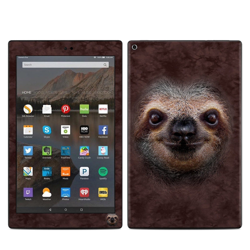 Amazon Fire HD 10 2019 Skin design of Three-toed sloth, Sloth, Snout, Head, Close-up, Nose, Two-toed sloth, Terrestrial animal, Eye, Whiskers with black, gray, red, green colors