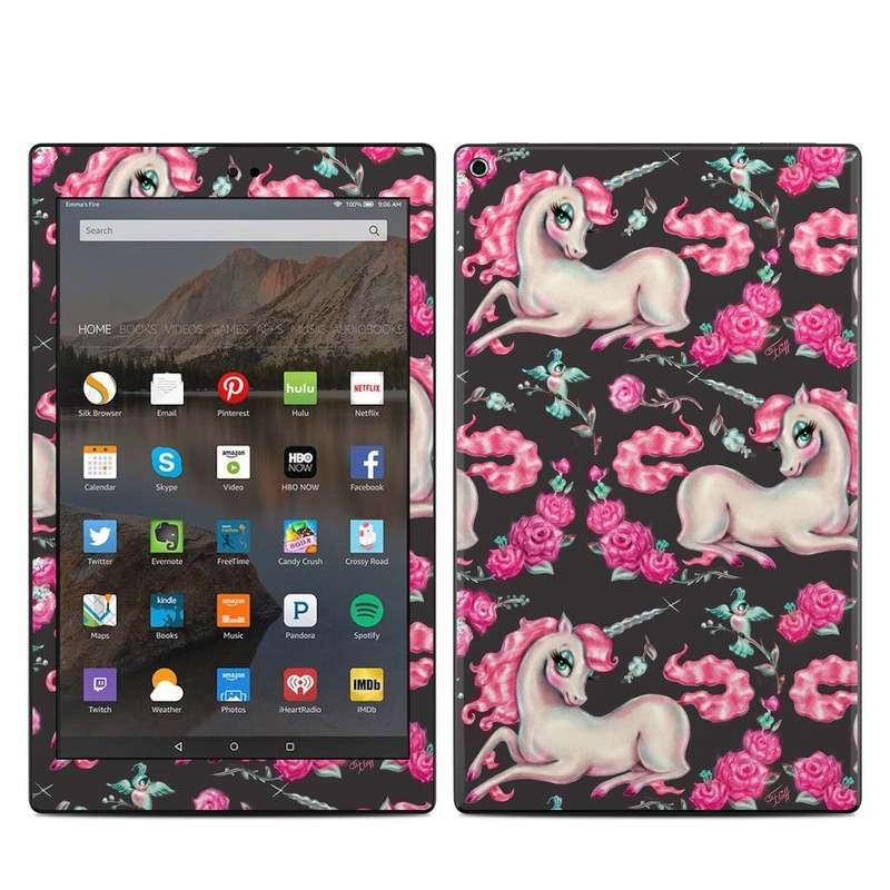 Amazon Fire HD 10 2019 Skin design of Pink, Horse, Pony, Fictional character, Unicorn, Mythical creature, Mane, Textile, Animal figure, Illustration with white, pink, blue, black, red colors