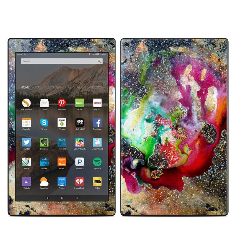 Amazon Fire HD 10 2019 Skin design of Organism, Space, Art, Nebula, Rock with black, gray, red, green, blue, purple colors