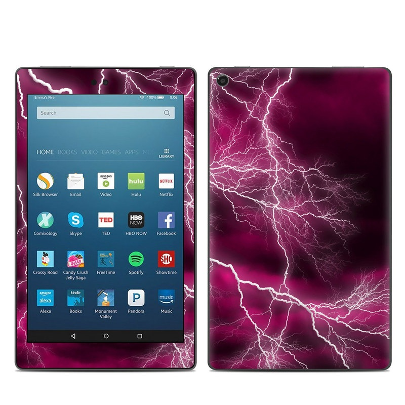 Amazon Fire HD 8 2017 Skin design of Thunder, Lightning, Thunderstorm, Sky, Nature, Purple, Red, Atmosphere, Violet, Pink with pink, black, white colors