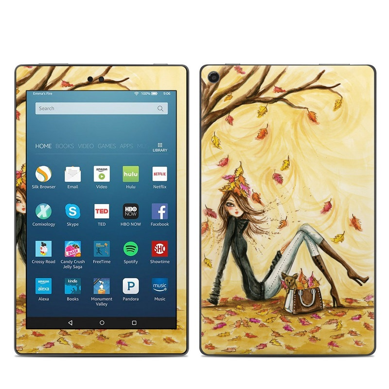 Amazon Fire HD 8 2017 Skin design of Painting, Watercolor paint, Tree, Art, Illustration, Plant, Modern art, Visual arts, Still life, Fictional character with yellow, red, brown, orange, black, white colors