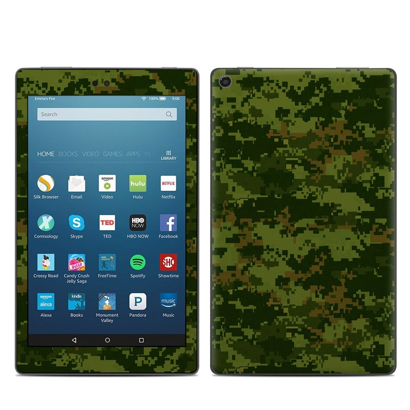Amazon Fire HD 8 2017 Skin design of Military camouflage, Green, Pattern, Uniform, Camouflage, Clothing, Design, Leaf, Plant with green, brown colors