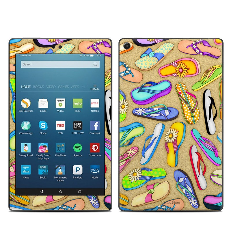 Amazon Fire HD 8 2017 Skin design of Pattern, Design, Visual arts, Footwear, Art with gray, green, blue, pink, purple, orange colors