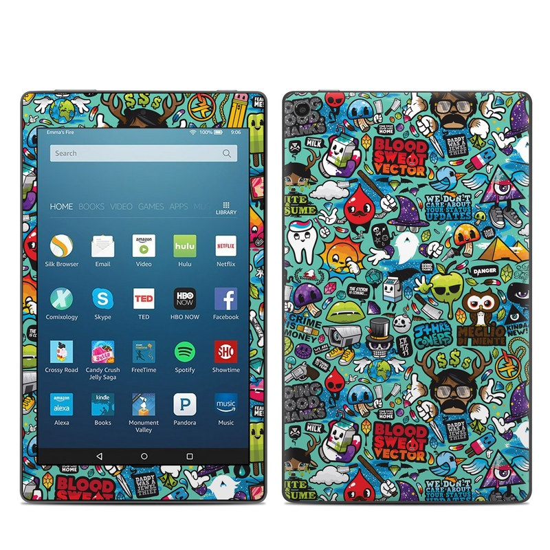 Amazon Fire HD 8 2017 Skin design of Cartoon, Art, Pattern, Design, Illustration, Visual arts, Doodle, Psychedelic art with black, blue, gray, red, green colors