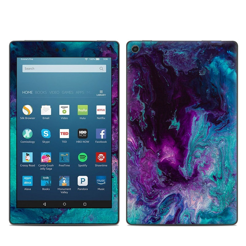 Amazon Fire HD 8 2017 Skin design of Blue, Purple, Violet, Water, Turquoise, Aqua, Pink, Magenta, Teal, Electric blue with blue, purple, black colors