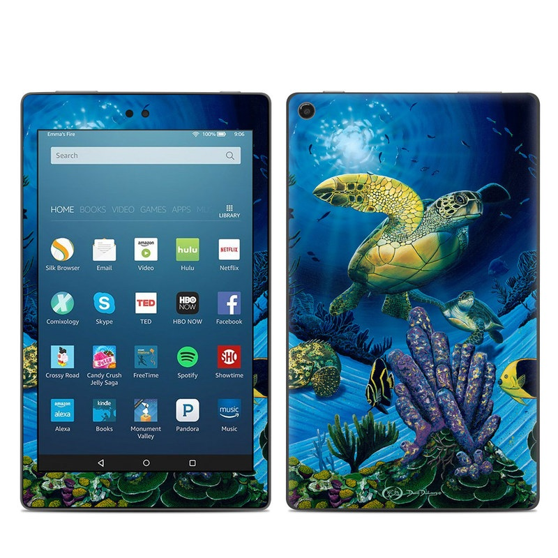 Amazon Fire HD 8 2017 Skin design of Sea turtle, Green sea turtle, Marine biology, Turtle, Organism, Underwater, Coral reef, Stony coral, Reef, Coral reef fish with black, blue, green, gray colors