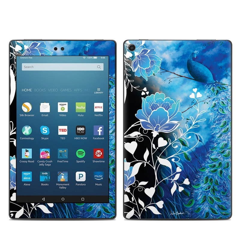 Amazon Fire HD 8 2017 Skin design of Blue, Pattern, Graphic design, Design, Illustration, Organism, Visual arts, Graphics, Plant, Art with black, blue, gray, white colors