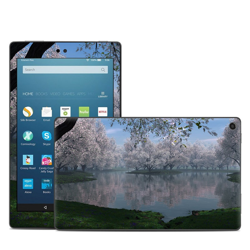 Amazon Fire HD 8 2017 Skin design of Nature, Natural landscape, Reflection, Water, Tree, Bank, Atmospheric phenomenon, Lake, Spring, Morning with black, gray, blue colors