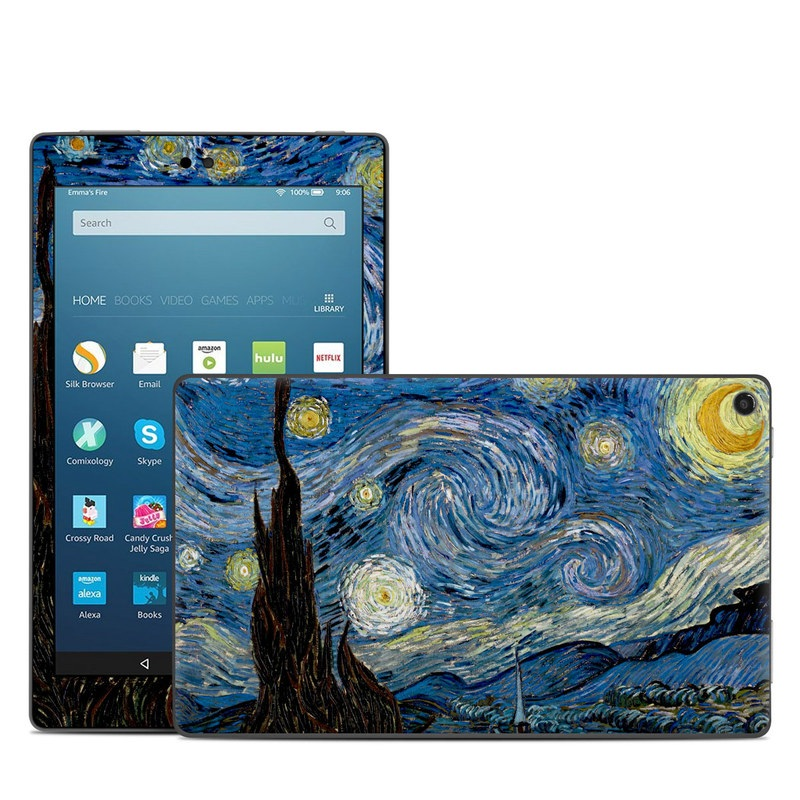 Amazon Fire HD 8 2017 Skin design of Painting, Purple, Art, Tree, Illustration, Organism, Watercolor paint, Space, Modern art, Plant with gray, black, blue, green colors