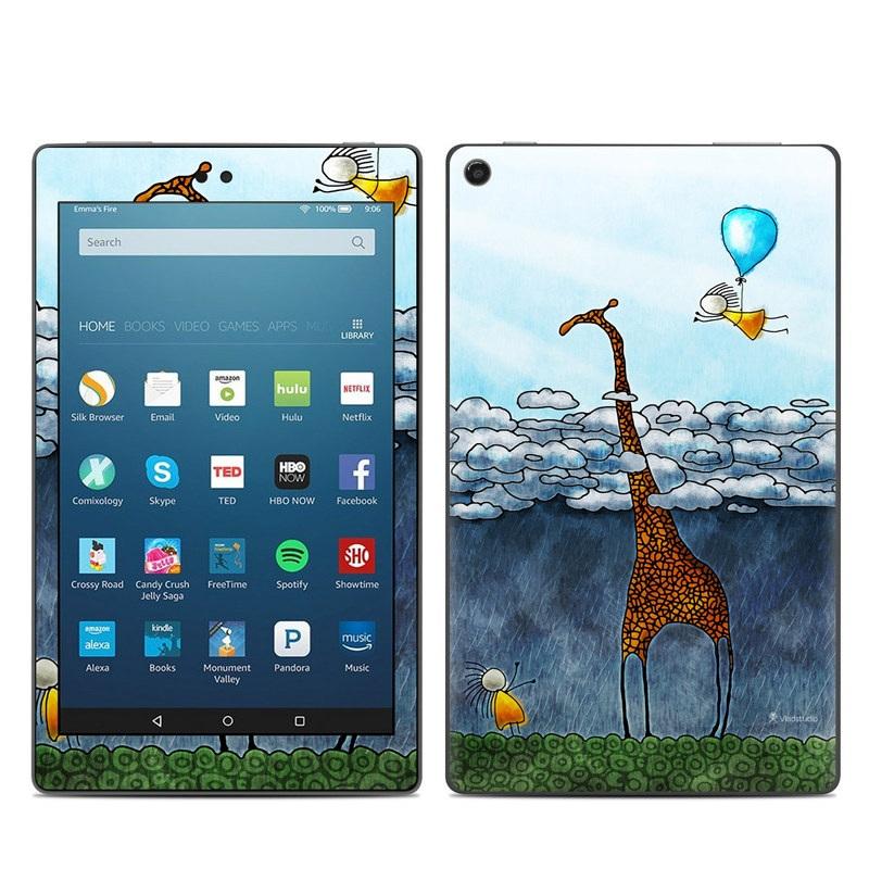 Amazon Fire HD 8 2018 Skin design of Giraffe, Sky, Tree, Water, Branch, Giraffidae, Illustration, Cloud, Grassland, Bird with blue, gray, yellow, green colors